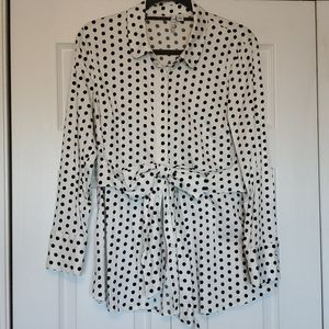 Elle polka dot button up blouse with bow at waist